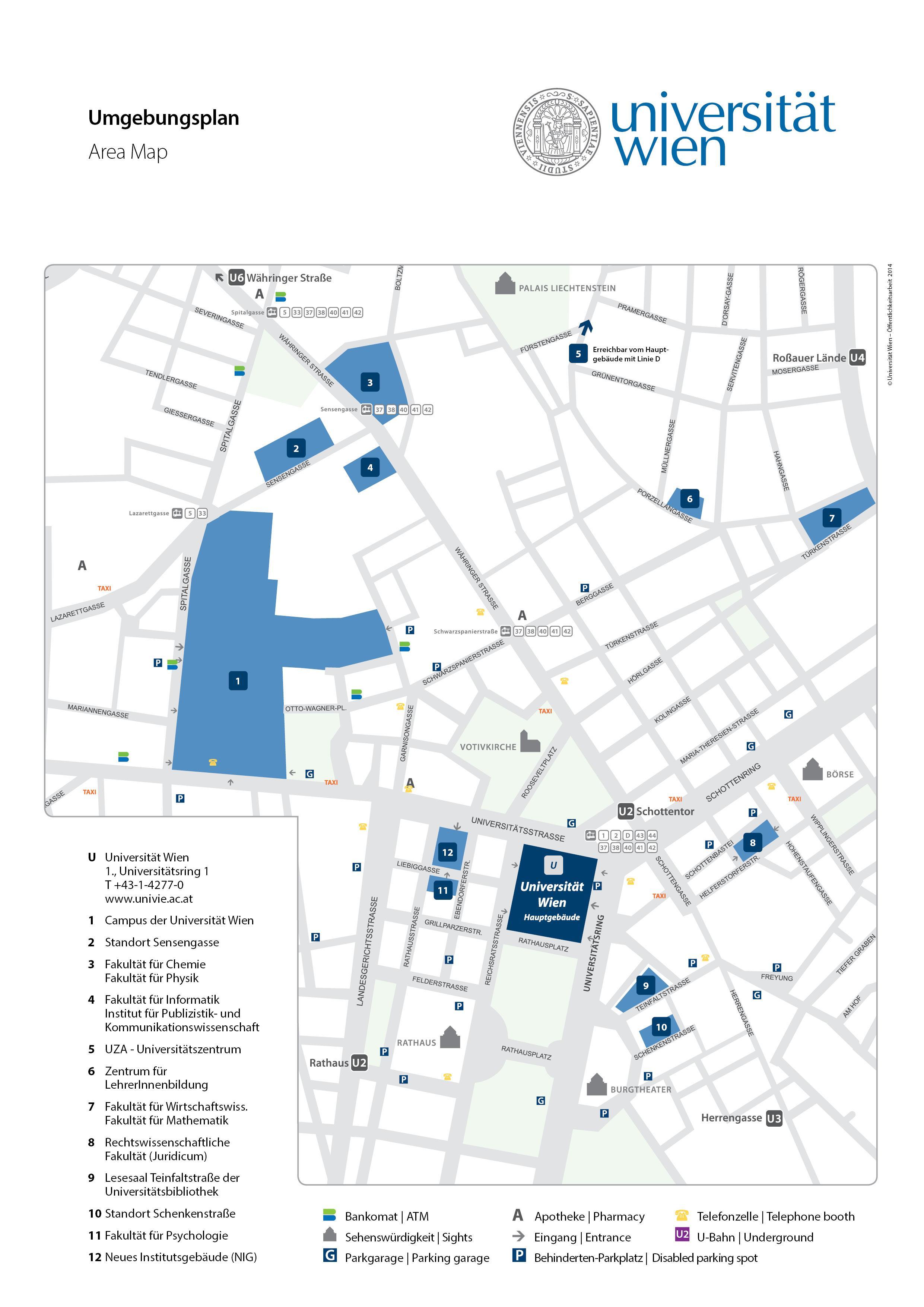 University of Vienna map - Map of university of Vienna (Austria)