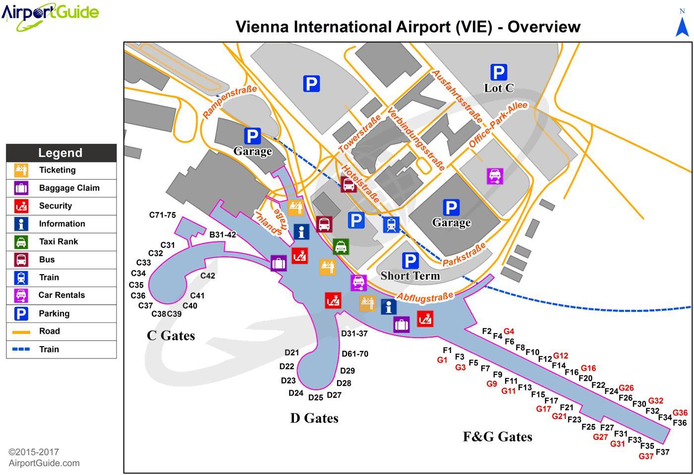 Vienna Airport Map Vienna airport terminal map   Wien airport map (Austria) Vienna Airport Map