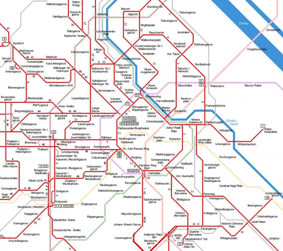 Vienna Tram Subway Map.Vienna Tram D Map Vienna Austria Tram Map Austria
